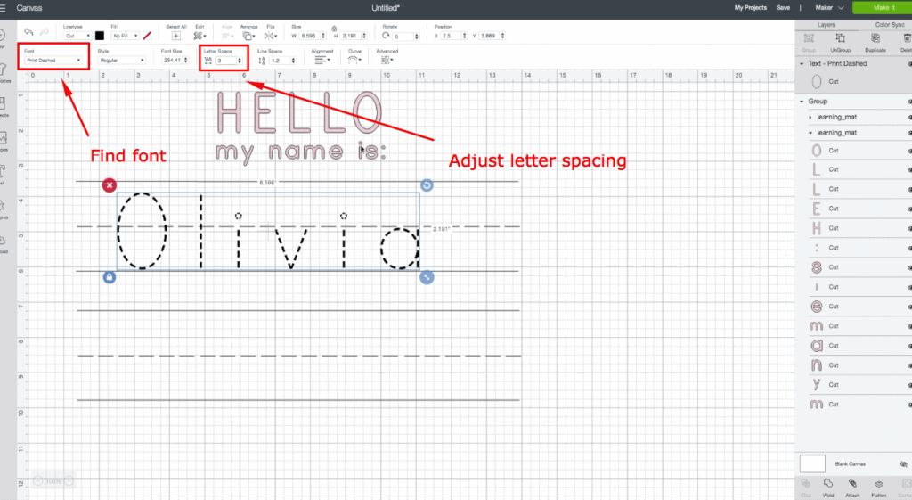 Cricut Engraving Tool Project: Whiteboard Learning Mats. Adjust letter spacing on names.