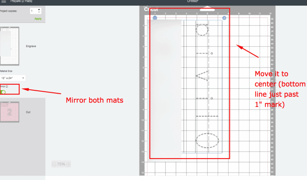 Cricut Engraving Tool Project: Whiteboard Learning Mats. Mirror each mat and re-adjust engraving mat so it is center.