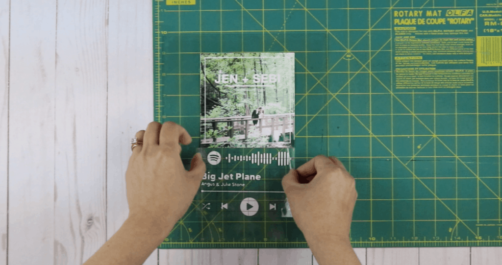 Spotify Glass Art on Cricut. Place everything on the glass.