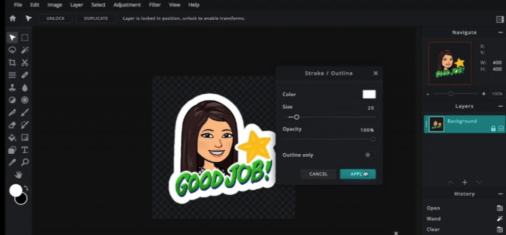 How to make Bitmoji Stickers: add a stroke